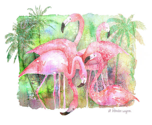 Bird Painting - Flamingo Five by Arline Wagner