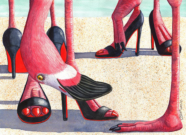 Painting - Flamingo Heels by Catherine G McElroy