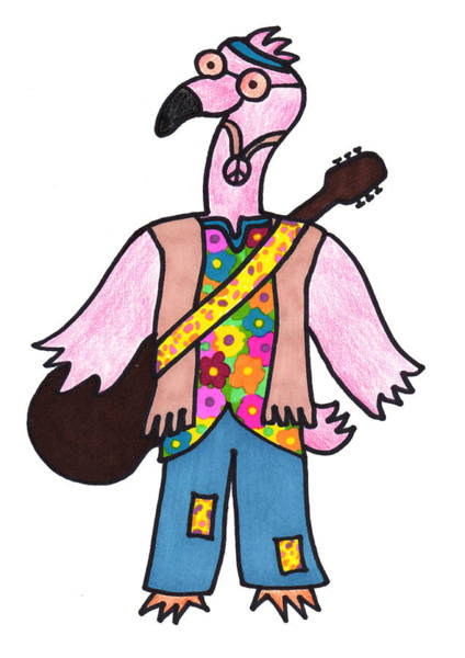 Wall Art - Drawing - Flamingo Hippie by Lady Beaver