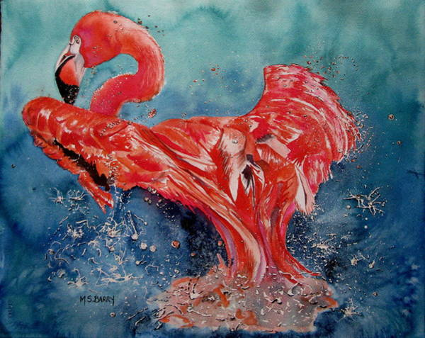 Wall Art - Painting - Flamingo Inflight by Maria Barry