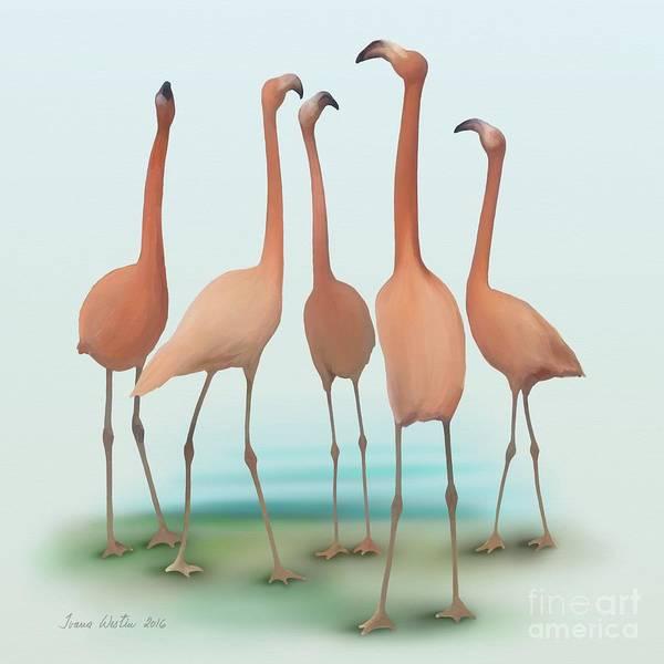 Flamingo Mingle Art Print