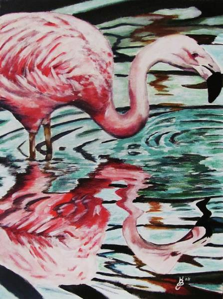 Wall Art - Painting - Flamingo Reflection by Kim Selig