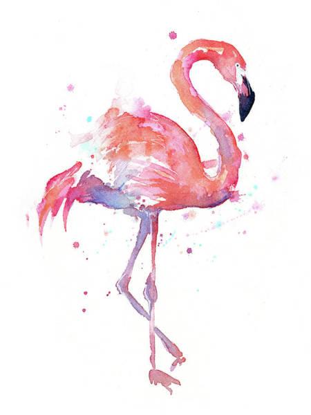 Bird Watercolor Painting - Flamingo Watercolor Facing Right by Olga Shvartsur