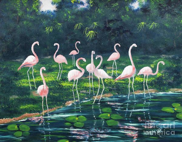 Lagos Painting - Flamingoes by Diosdado Lagos
