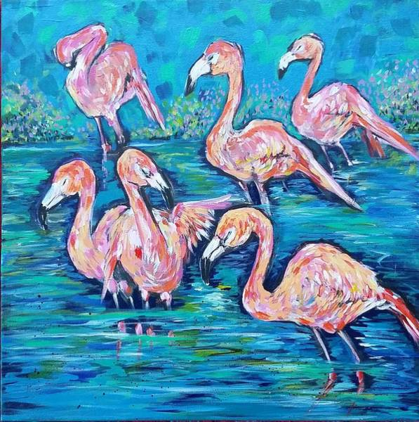 Wall Art - Painting - Flamingos At Zoo Atlanta  by Arrin Burgand