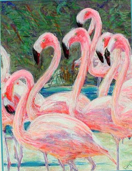 Mixed Media - Flamingos by Banning Lary