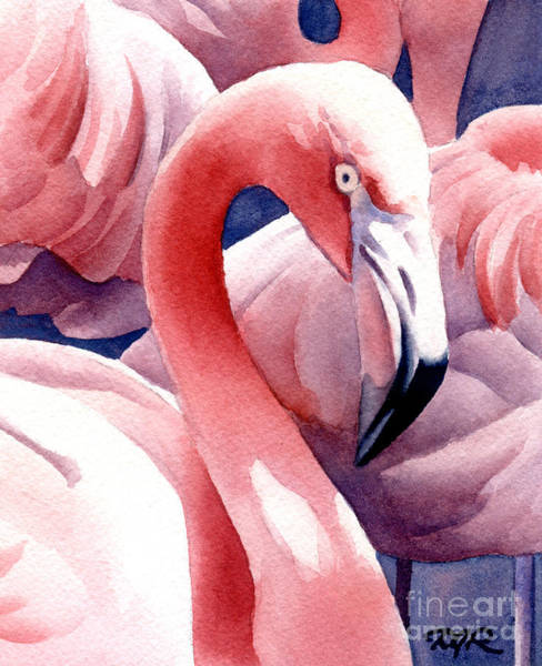 Flamingo Watercolor Painting - Flamingos by David Rogers