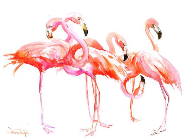 Flamingo Painting - Flamingos by Suren Nersisyan