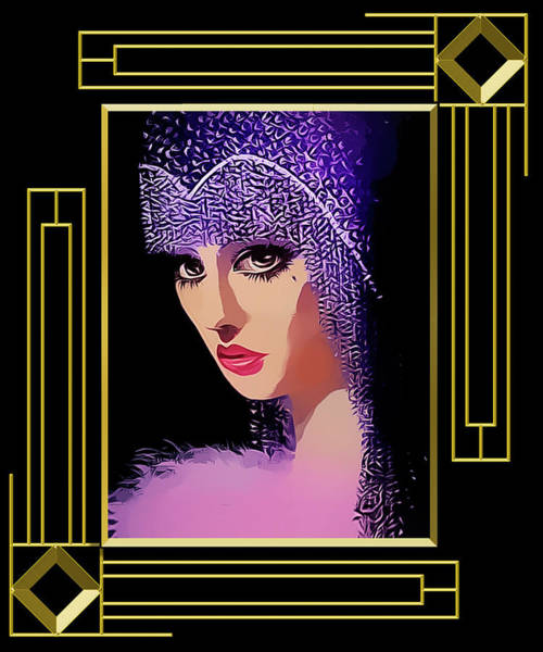 Digital Art - Flapper In Purple Hat - Framed by Chuck Staley