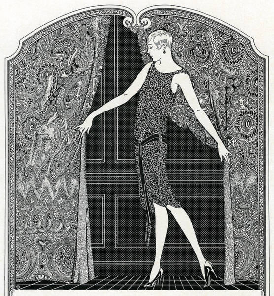 1920s Drawing - Flapper Opening A Curtain by American School