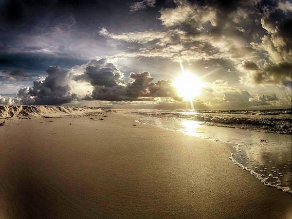 Digital Art - Flat Beach And Wave by Michael Thomas
