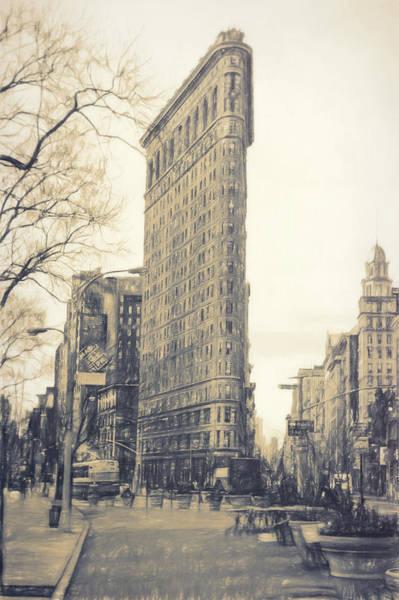 Midtown Manhattan Digital Art - Flat Iron Building North Side - Sketch by Sue Schwer