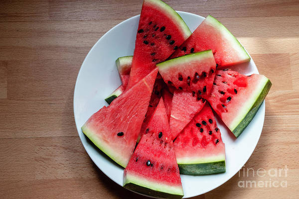Photograph - Flat Lay Of  Watermelon On The Wooden Surface by Marina Usmanskaya