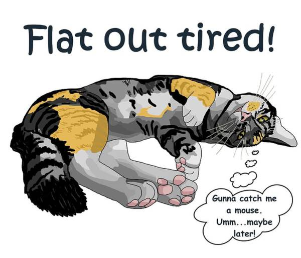 Drawing - Flat Out Tired by Joan Stratton
