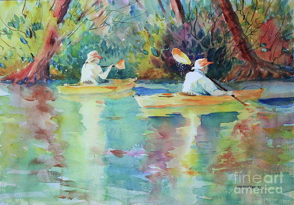 Central Texas Painting - Flat Rock Kayakers by Marsha Reeves