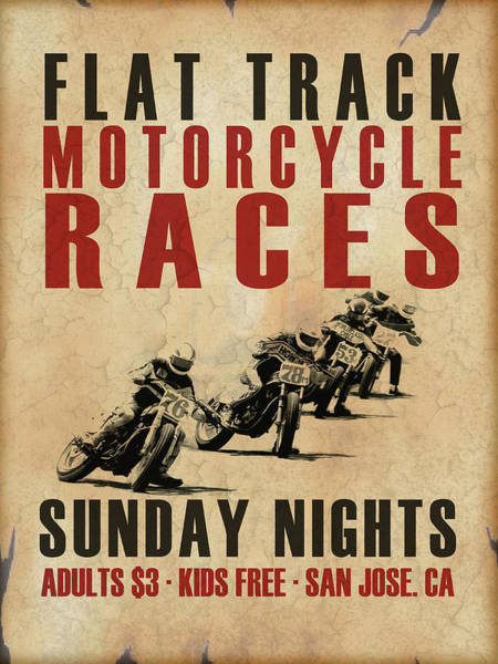 Motor Photograph - Flat Track Motorcycle Races by Mark Rogan