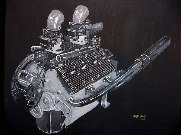 Painting - Flathead Offenhauser V8 by Richard Le Page