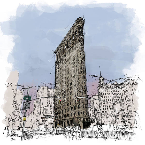 Wall Art - Painting - Flatiron Building, New York Sketch by Drawspots Illustrations