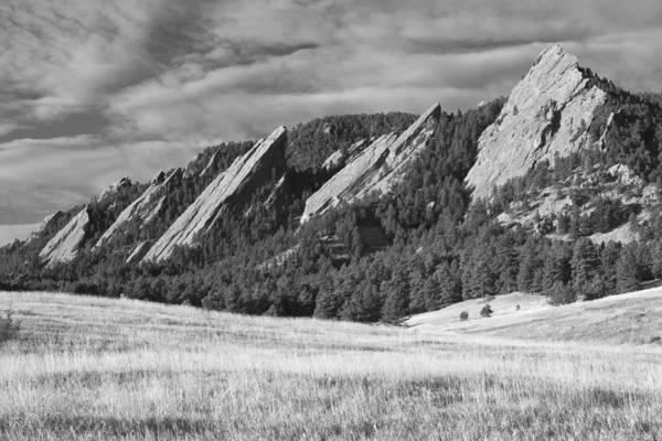 Photograph - Flatiron Morning Light Boulder Colorado Bw by James BO Insogna