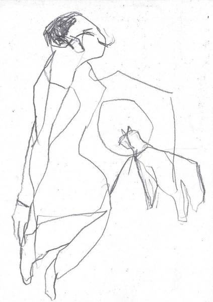 Drawing - Fleeing Woman by Artist Dot