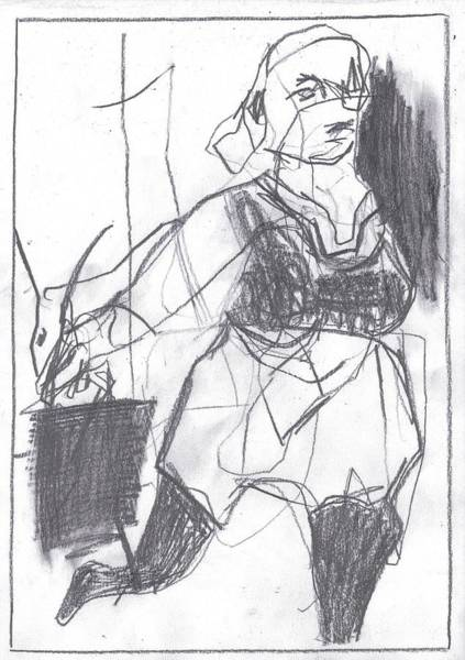 Drawing - Fleeing Writer by Artist Dot
