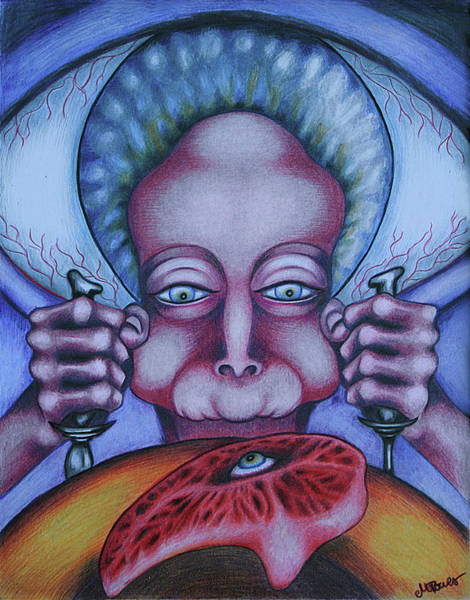 Vegan Drawing - Flesh Eater by Maryska Torresowa