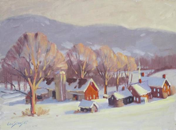 Barn Snow Painting - Fletcher Farm 2 by Len Stomski