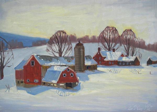 Barn Snow Painting - Fletcher Farm by Len Stomski