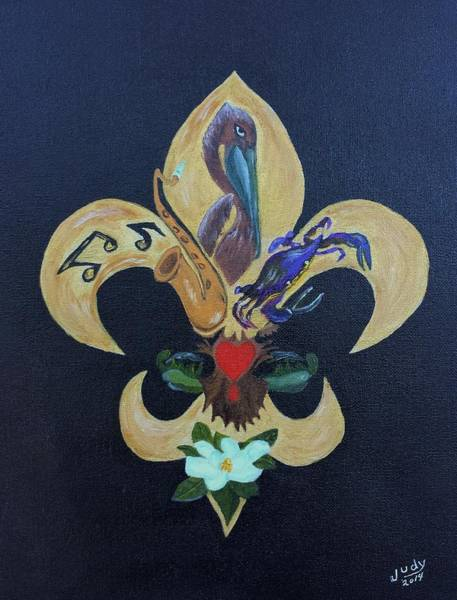 Wall Art - Painting - Fleur De Lis New Orleans Style by Judy Jones