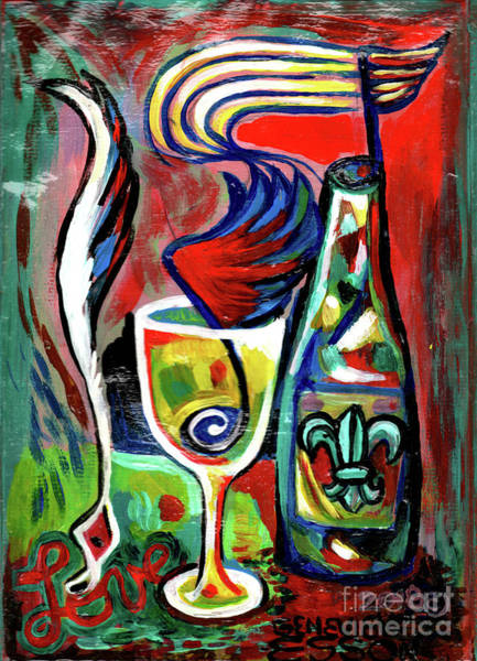 Wall Art - Painting - Fleur De Lys Wine With Music Note And Feather Pen by Genevieve Esson