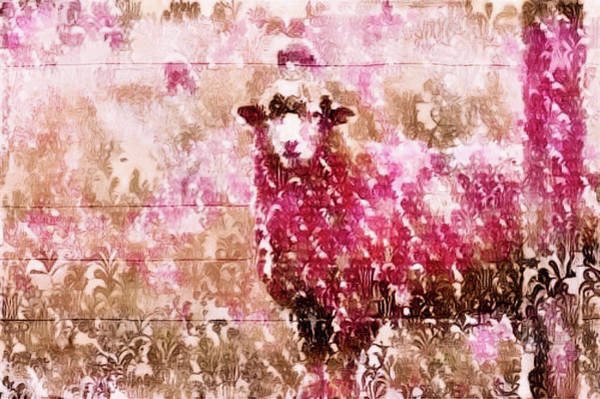 Mixed Media - Fleur De Sheep by Susan Maxwell Schmidt