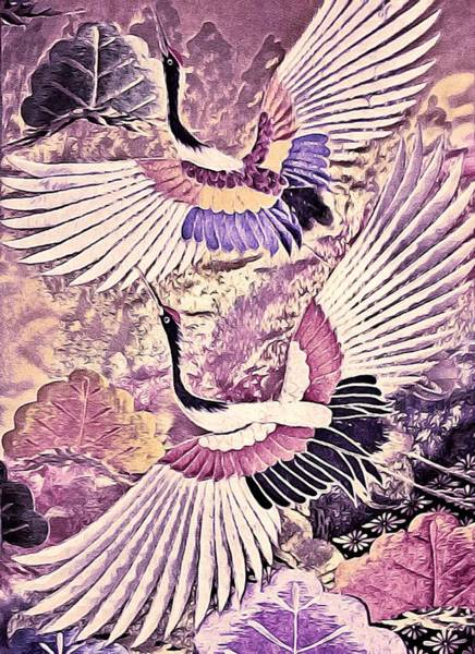 Art Print featuring the tapestry - textile Flight Of Lovers - Kimono Series by Susan Maxwell Schmidt