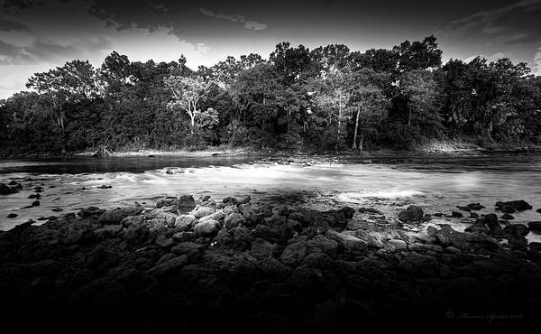 Albany Photograph - Flint River Rapids B/w by Marvin Spates