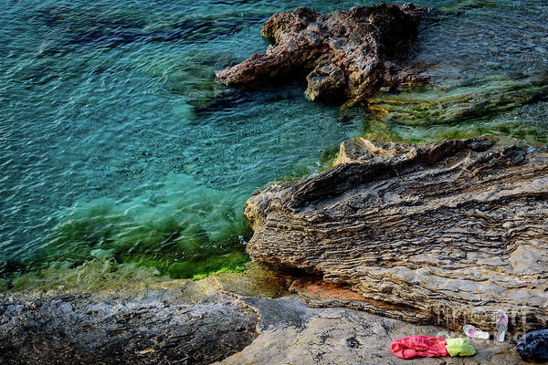 Photograph - Flip Flops On The Adriatic Rocks, Primosten, Croatia by Global Light Photography - Nicole Leffer