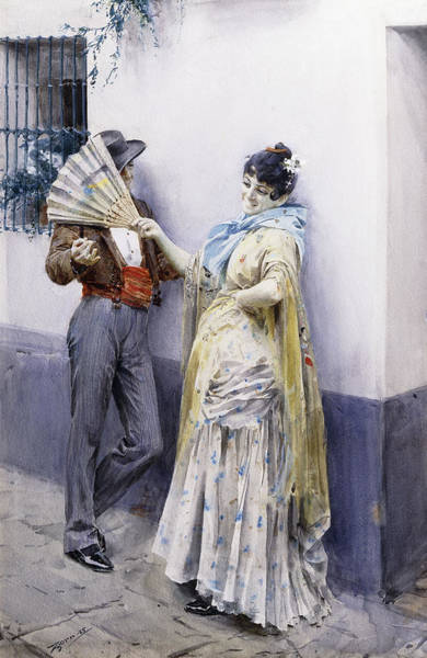 Senorita Painting - Flirtation by Anders Leonard Zorn