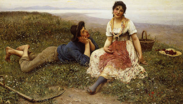 Picnic Basket Wall Art - Painting - Flirtation by Eugen von Blaas