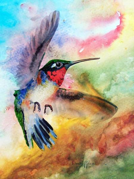 Painting -  Da198 Flit The Hummingbird By Daniel Adams by Daniel Adams