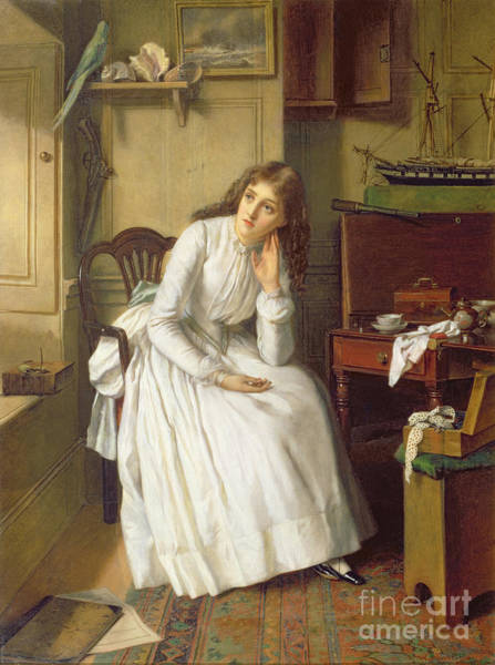 Wall Art - Painting - Flo Dombey In Captain Cuttle's Parlour by William Maw Egley