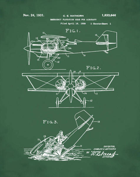 Wall Art - Photograph - Flotation Gear For Aircraft Patent 1931 Red by Bill Cannon