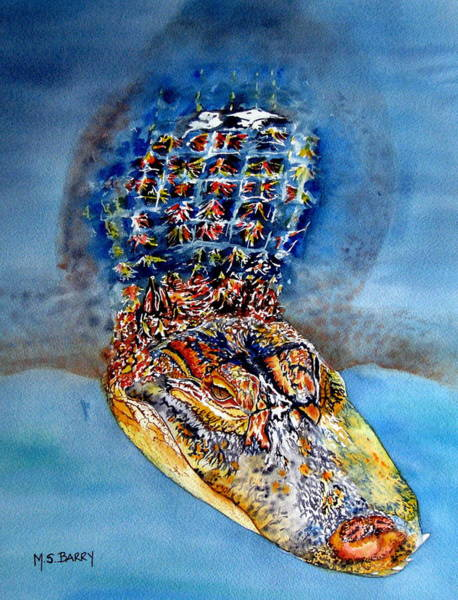 Gator Wall Art - Painting - Floating Gator by Maria Barry