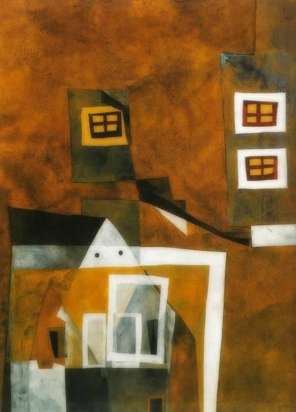 Neighborhood Painting - Floating Houses by Lajos Vajda