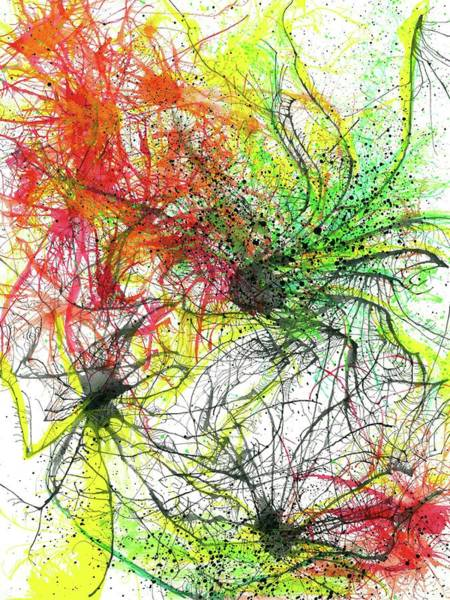 Brain Cell Painting - Floating In The Electric Sea #336 by Rainbow Artist Orlando L