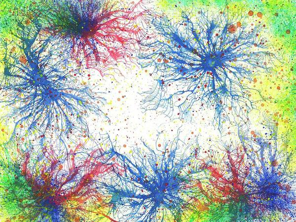 Brain Cell Painting - Floating In The Electric Sea #338 by Rainbow Artist Orlando L