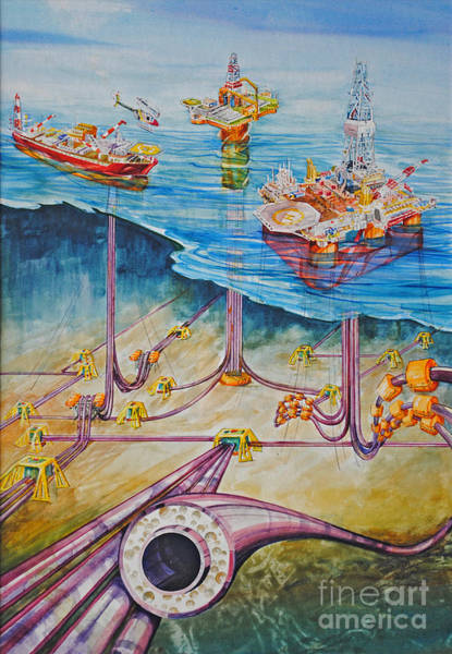 Platform Painting - Floating Pipelines  by P Anthony Visco