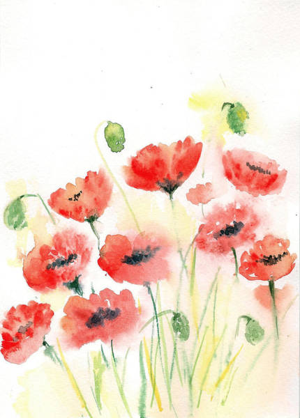 Painting - Floating Poppies by Asha Sudhaker Shenoy