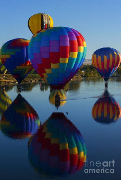 Hot Air Balloons Photograph - Floating Reflections by Mike Dawson