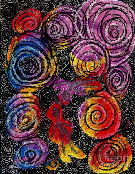 Oil Pastels Drawing - Floating by Sarah Loft
