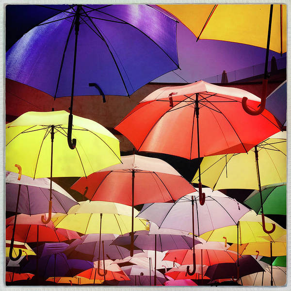 Iphoneography Wall Art - Photograph - Floating Umbrellas by Dave Bowman