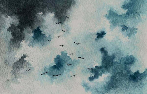 Wall Art - Painting - Flock Of Birds Against A Dark Sky  by Michael Vigliotti