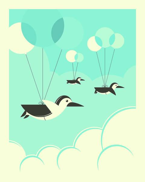 Flock Wall Art - Digital Art - Flock Of Penguins by Jazzberry Blue